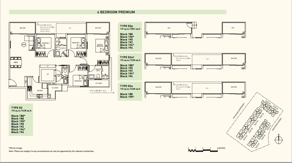 Westwood Residences floor plans d2 executive condominium singapore